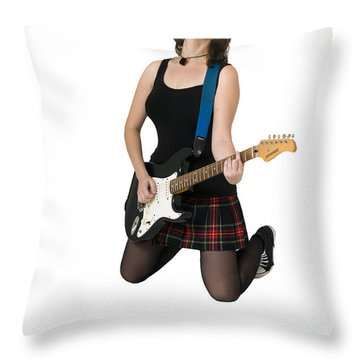 Female Guitarist Jumps  Throw Pillow by Ilan Rosen