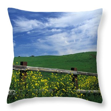 Fence And Flowers Throw Pillow by Kathy Yates
