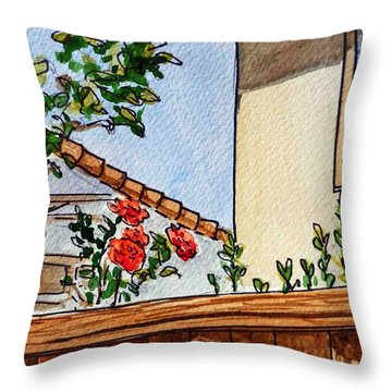 Fence And Roses Sketchbook Project Down My Street Throw Pillow by Irina Sztukowski
