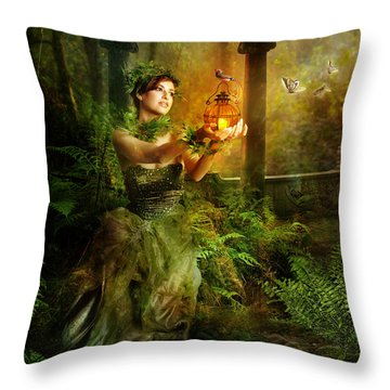 Fern Throw Pillow by Mary Hood