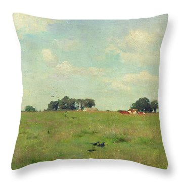 Field With Trees And Sky Throw Pillow by Walter Frederick Osborne