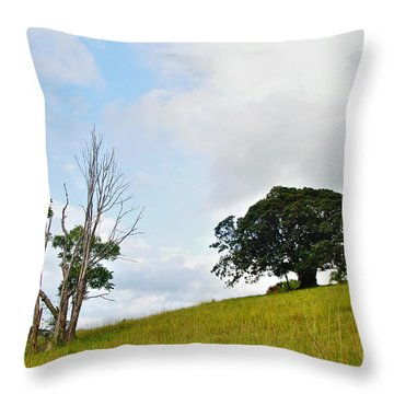 Fig Tree On A Hill Throw Pillow by Kaye Menner