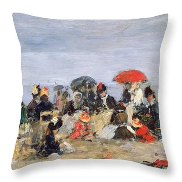 Figures On A Beach Throw Pillow by Eugene Louis Boudin