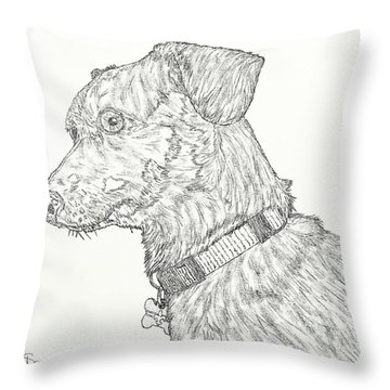Finn In Black And White Throw Pillow by Salvadore Delvisco