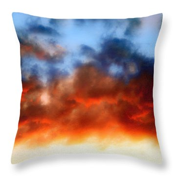 Fire In The Sky Throw Pillow by Andee Design