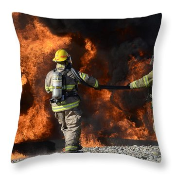 Firefighters In Action 3 Throw Pillow by Bob Christopher
