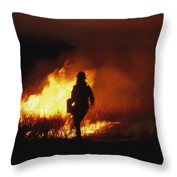 Firefighters Start A Controlled Fire Throw Pillow by Joel Sartore