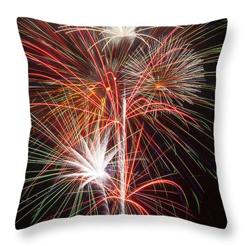 Fireworks Light Up The Night Throw Pillow by Garry Gay