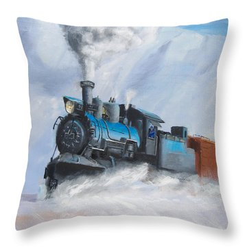 First Train Through Throw Pillow by Christopher Jenkins