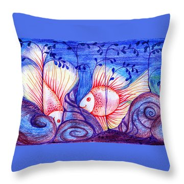 Fishes Throw Pillow by Hong Diep Loi