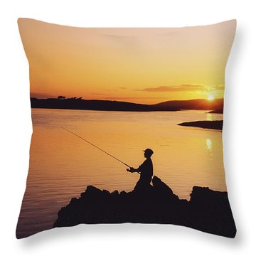 Fishing At Sunset, Roaring Water Bay Throw Pillow by The Irish Image Collection