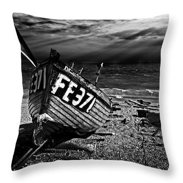 fishing boat FE371 Throw Pillow by Meirion Matthias