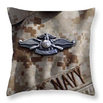 Fleet Marine Force Warfare Device Pin Throw Pillow by Stocktrek Images