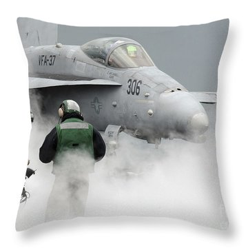 Flight Deck Personnel Are Surrounded Throw Pillow by Stocktrek Images