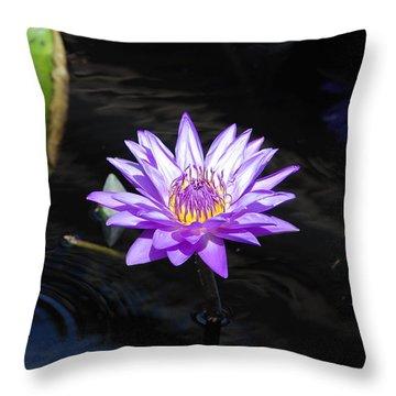 Floral Burst Of Purple Throw Pillow by Jennifer Ancker