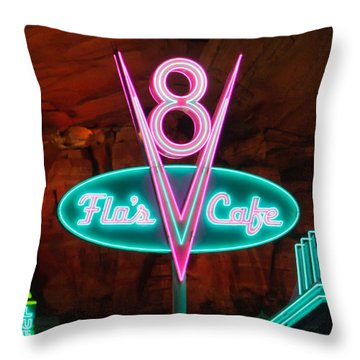 Flo's V8 Cafe - Cars Land - Disneyland Throw Pillow by Heidi Smith