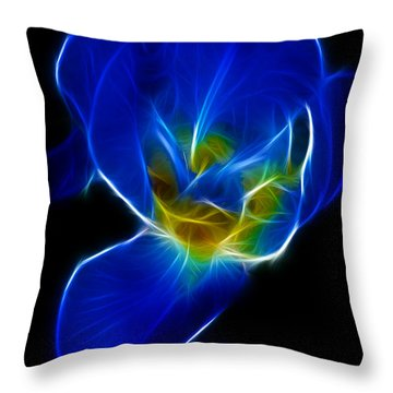 Flower - Coral Blue - Abstract Throw Pillow by Paul Ward