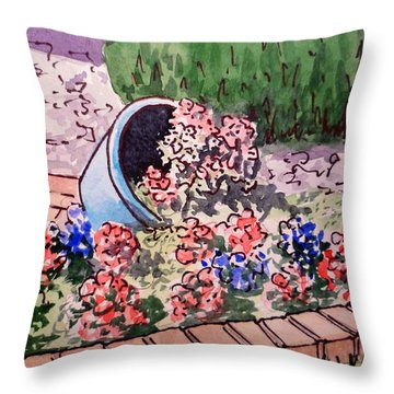 Flower Bed Sketchbook Project Down My Street Throw Pillow by Irina Sztukowski