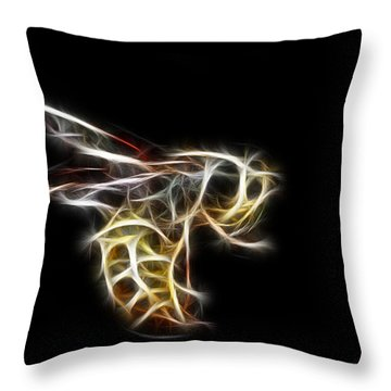 Flying Wasp Throw Pillow by Paul Ward