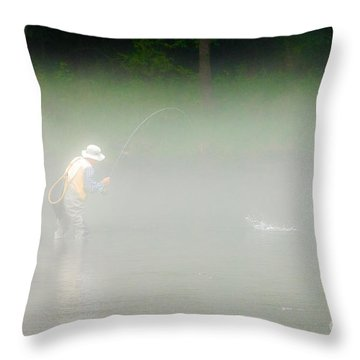 Fog Fishing Throw Pillow by Cindy Tiefenbrunn