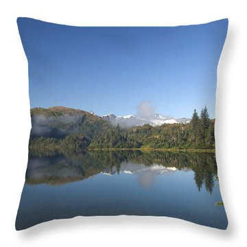 Fog Over Shrode Lake II Throw Pillow by Gloria & Richard Maschmeyer