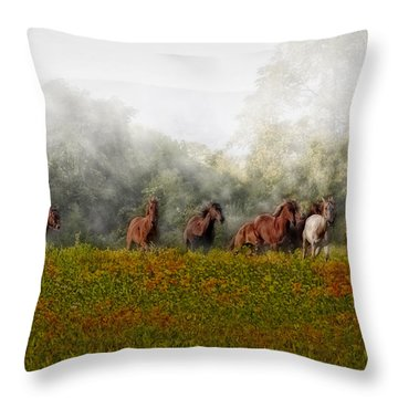 Foggy Morning Throw Pillow by Susan Candelario