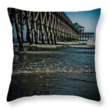 Folly Beach Pier Throw Pillow by Jessica Brawley