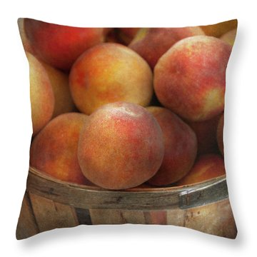 Food - Peaches - Just Peachy Throw Pillow by Mike Savad