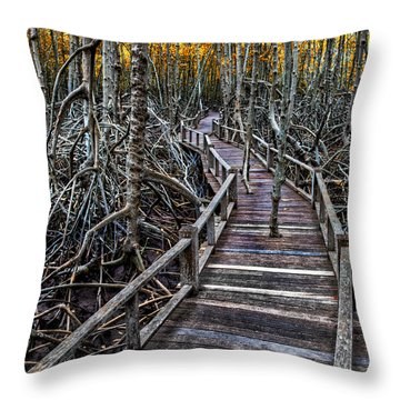 Footpath In Mangrove Forest Throw Pillow by Adrian Evans