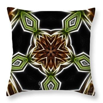 Fractal Kaleidoscope Throw Pillow by Cheryl Young