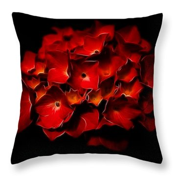 Fractalius Red Hydrangea Throw Pillow by Jay Lethbridge