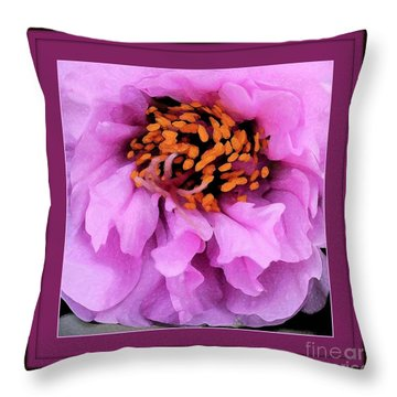 Framed In Purple - Abstract Floral Throw Pillow by Carol Groenen