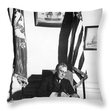 Franklin D. Roosevelt, 32nd American Throw Pillow by Omikron