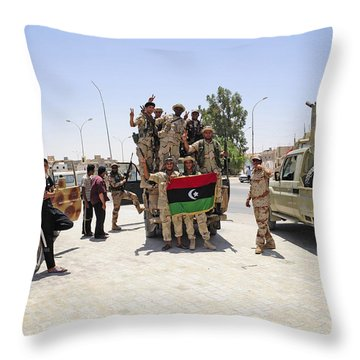 Free Libyan Army Troops Pose Throw Pillow by Andrew Chittock