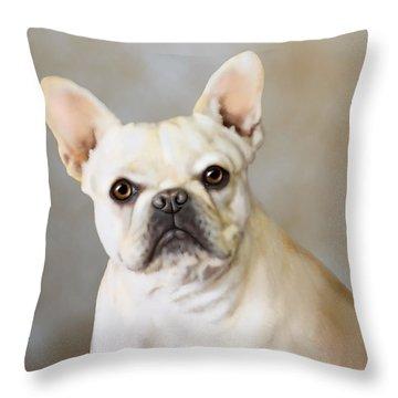 French Bulldog Luna Throw Pillow by Barbara Hymer