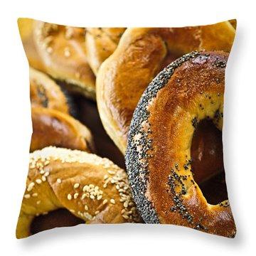 Fresh Bagels Throw Pillow by Elena Elisseeva