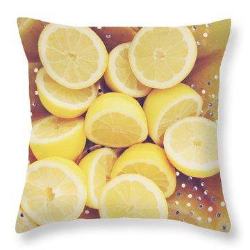 Fresh Lemons Throw Pillow by Amy Tyler