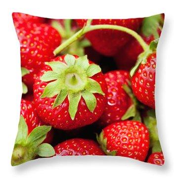 Fresh Strawberries Throw Pillow by Marta Holka
