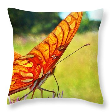 Fritillary On Ironweed Throw Pillow by Judi Bagwell
