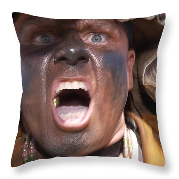 Frontiersman Pumps Up Team Members Throw Pillow by Stocktrek Images