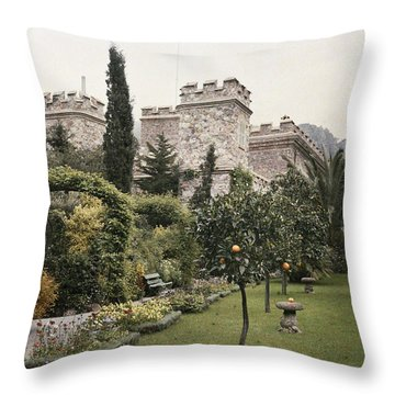 Fruit Trees Grow In The Gardens Of This Throw Pillow by Maynard Owen Williams
