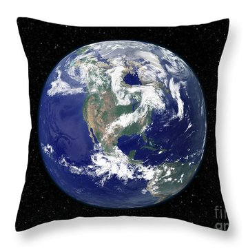 Fully Lit Earth Centered On North Throw Pillow by Stocktrek Images