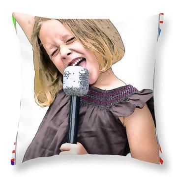 Future Star Sing It Girl Throw Pillow by Susan Leggett
