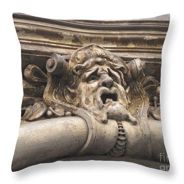 Gaging Choking Throw Pillow by John Malone