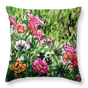 Garden Flowers Sketchbook Project Down My Street Throw Pillow by Irina Sztukowski