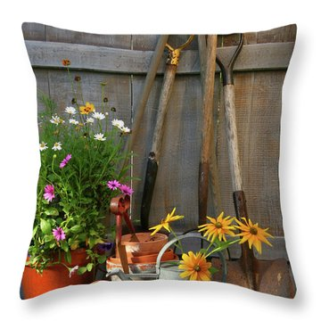 Garden Shed With Tools And Pots  Throw Pillow by Sandra Cunningham