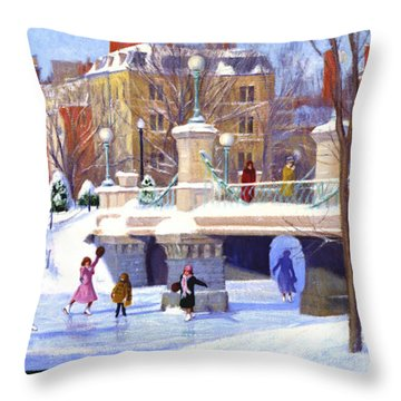 Garden Skaters Throw Pillow by Candace Lovely