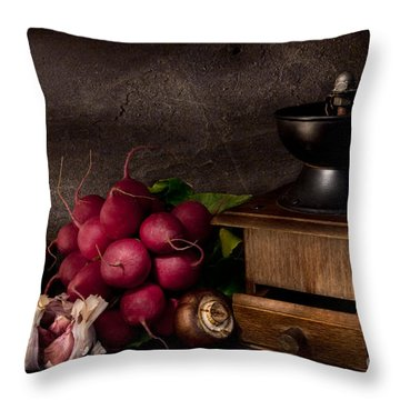 Garlic And Radishes Throw Pillow by Ann Garrett