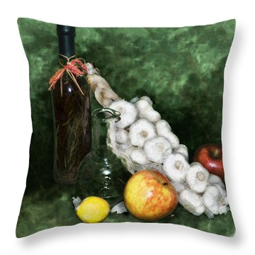 Garlic And The Apples Throw Pillow by Kelly Rader