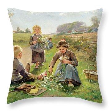 Gathering Flowers Throw Pillow by Joseph Julien